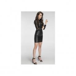 Sukienka z eko-skóry z koronką SL2104. Czarne sukienki koronkowe marki Soleil, w koronkowe wzory. Za 129,00 zł.