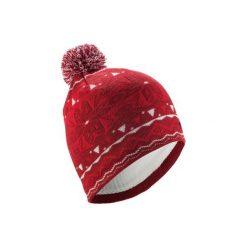 Czapka narciarska JACQUARD. Czerwone czapki damskie marki WED'ZE, z elastanu. Za 39,99 zł.
