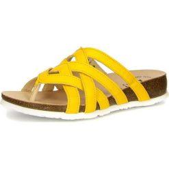 """Klapki damskie: Skórzane klapki """"Julia"""" w kolorze żółtym"""