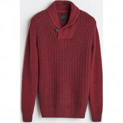 Gruby sweter z kołnierzem - Bordowy. Czerwone swetry klasyczne męskie marki Reserved, l. Za 159,99 zł.
