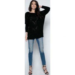 Swetry klasyczne damskie: Czarny Sweter Lekki Ażurowy Nietoperz