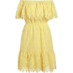 Sukienki hiszpanki: PERSEVERANCE LONDON DAISY CROCHET ANGLAISE OFF SHOULDER DRESS Sukienka letnia soft yellow