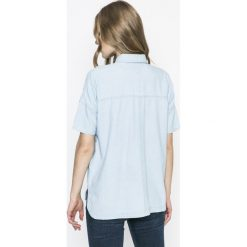 Hilfiger Denim - Koszula. Szare koszule damskie marki Hilfiger Denim, m, z bawełny, casualowe, z krótkim rękawem. W wyprzedaży za 219,90 zł.