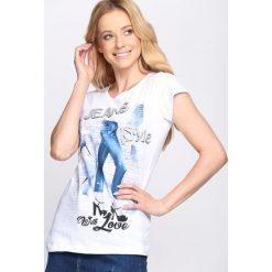 T-shirty damskie: Biały T-shirt Style With Love