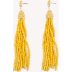 Kolczyki damskie: NA-KD Boho Kolczyki chwosty z kolorowych koralików – Yellow