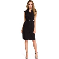 LINDI Sukienka szmizjerka bez rękawów - czarna. Czarne sukienki koktajlowe marki Stylove, do pracy, na lato, s, ze stójką, bez rękawów, dopasowane. Za 169,90 zł.