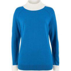 Sweter ze stójką bonprix lazurowo-biel wełny. Niebieskie swetry klasyczne damskie marki bonprix, z wełny, ze stójką. Za 54,99 zł.