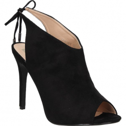 Sandały peep toe czarne na obcasie wiązane Casu JZ-6322. Czarne sandały damskie Casu, na obcasie. Za 69,99 zł.