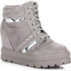 Sneakersy damskie: SNEAKERSY NA PLATFORMIE Bestelle odcienie szarości i srebra