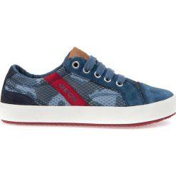 """Sneakersy """"Alonisso"""" w kolorze niebieskim. Niebieskie trampki chłopięce marki geox kids, z gumy. W wyprzedaży za 129,95 zł."""