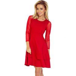 Irene Sukienka z TIULOWYMI rękawkami - CZERWONA. Czerwone sukienki na komunię marki numoco, s, z tiulu, z falbankami. Za 189,00 zł.