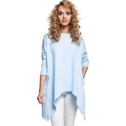 Błękitna Bluzka z Wydłużonymi Bokami. Niebieskie bluzki asymetryczne Molly.pl, l, z bawełny, z okrągłym kołnierzem, z krótkim rękawem. Za 109,90 zł.