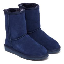 Skórzane botki w kolorze niebieskim. Niebieskie buty zimowe damskie Carla Samuel, na zimę. W wyprzedaży za 199,95 zł.