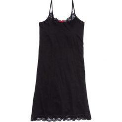 Koszula nocna na cienkich ramiączkach bonprix czarny. Czarne koszule nocne i halki bonprix, w koronkowe wzory, z koronki. Za 44,99 zł.
