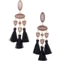 Kolczyki damskie: Kolczyki z frędzlami bonprix czarno-złoty kolor