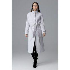 Długi płaszcz reglan m624. Niebieskie płaszcze damskie marki SaF, na co dzień, xl, z żakardem, z asymetrycznym kołnierzem, dopasowane. Za 299,00 zł.