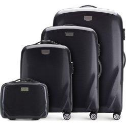 Zestaw walizek 56-3P-57K-10. Czarne walizki marki Wittchen, w paski, z gumy, duże. Za 1168,08 zł.