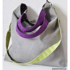 Torba hobo XXL- szary, limonka, fiolet. Szare torebki klasyczne damskie Pakamera, z syntetyku, duże. Za 119,00 zł.