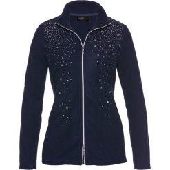 Bluza z polaru z połyskującymi kamieniami bonprix ciemnoniebiesko-srebrny. Niebieskie bluzy polarowe marki bonprix. Za 109,99 zł.