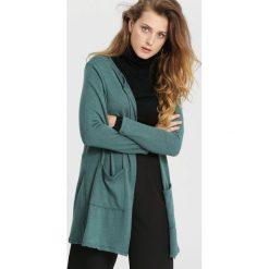 Swetry damskie: Ciemnozielony Kardigan Length