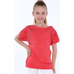 T-shirty dziewczęce: Bluzka dziewczęca z okrągłymi ćwiekami koralowa NDZ8282