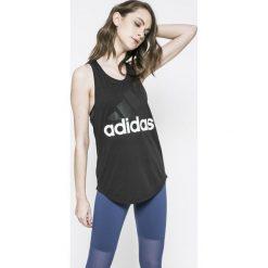 Adidas Performance - Top. Szare topy sportowe damskie adidas Performance, l, z nadrukiem, z bawełny, z okrągłym kołnierzem. W wyprzedaży za 89,90 zł.