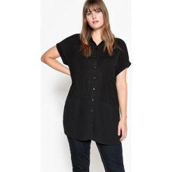 T-shirty damskie: T-shirt w kształcie koszuli z dwóch rodzajów materiału