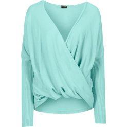 Swetry damskie: Sweter dzianinowy bonprix pastelowy miętowy