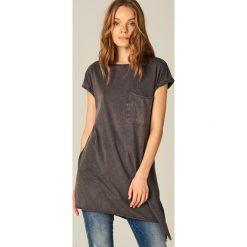 Bluzki, topy, tuniki: Długa koszulka z asymetrycznym dołem – Szary