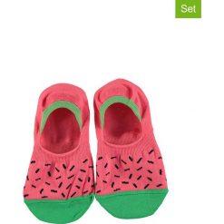 Skarpetki damskie: Skarpetki-stopki (3 pary) w kolorze różowo-zielonym