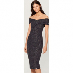 Dopasowana midi sukienka - Niebieski. Czerwone sukienki marki Mohito, l, w koronkowe wzory. Za 119,99 zł.
