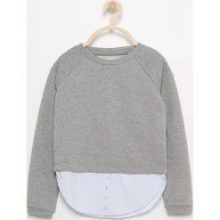 Bluzy dziewczęce: Bluza z koszulowym dołem - Szary