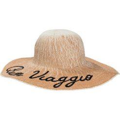 Kapelusz słomkowy bonprix beżowo-czarny. Brązowe kapelusze damskie bonprix, na lato, z napisami. Za 49,99 zł.