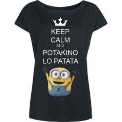 Minions Potakino Lo Patata Koszulka damska czarny. Czarne bluzki asymetryczne Minions, s, z motywem z bajki, z dekoltem w łódkę. Za 79,90 zł.