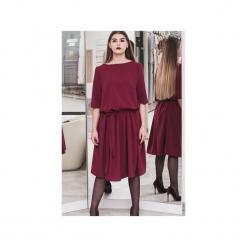 Sukienka w kolorze WINA. Czerwone sukienki balowe 3 for u, l, w paski, z materiału, z klasycznym kołnierzykiem, dopasowane. Za 220,00 zł.