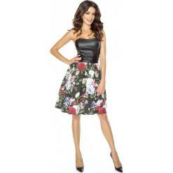 Sukienka w Kwiaty ze Skórzanym Gorsetem Wzór 1. Czarne sukienki koktajlowe marki Molly.pl, na sylwestra, xl, w kwiaty, ze skóry, z gorsetem, dopasowane. Za 278,90 zł.