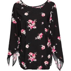Bluzki asymetryczne: Bluzka z przewiązaniem bonprix czarny w kwiaty