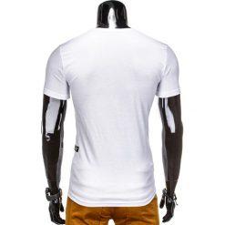 T-SHIRT MĘSKI BEZ NADRUKU S824 - BIAŁY. Czarne t-shirty męskie z nadrukiem marki Ombre Clothing, m, z bawełny, z kapturem. Za 29,00 zł.