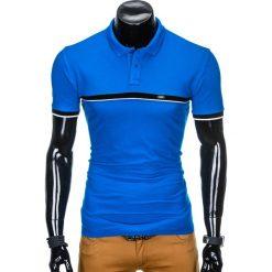 KOSZULKA MĘSKA POLO BEZ NADRUKU S881 - NIEBIESKA. Niebieskie koszulki polo Ombre Clothing, m, z nadrukiem. Za 39,00 zł.