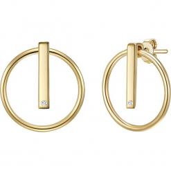 Pozłacane kolczyki-wkrętki z diamentami. Żółte kolczyki damskie Stylowa biżuteria, z diamentem, pozłacane. W wyprzedaży za 173,95 zł.
