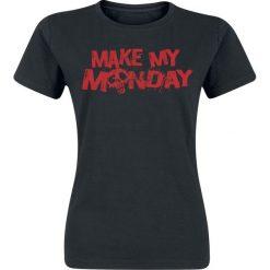 Make My Monday Koszulka damska czarny. Czarne bluzki z odkrytymi ramionami Make My Monday, l, z nadrukiem, z okrągłym kołnierzem. Za 32,90 zł.