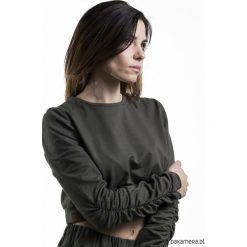 Bluzy damskie: Krótka bluza RUFFLE khaki.