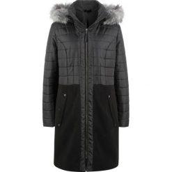 Płaszcz zimowy pikowany w połączeniu różnych materiałów bonprix czarny. Czarne płaszcze damskie pastelowe bonprix, na zimę, z materiału. Za 239,99 zł.