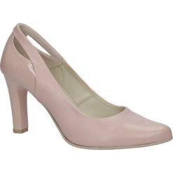 Różowe czółenka na słupku z wycięciem na pięcie Casu 3069. Czerwone buty ślubne damskie marki Casu, na słupku. Za 78,99 zł.