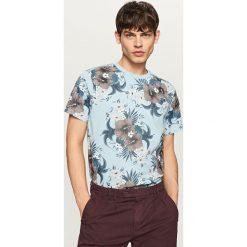 Koszulki męskie: T-shirt z nadrukiem w kwiaty - Niebieski