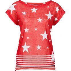 Bluzki, topy, tuniki: T-shirt bonprix truskawkowo-biały z nadrukiem