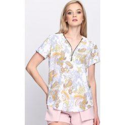 Biało-Żółta Bluzka Tansy. Białe bluzki z odkrytymi ramionami Born2be, z koronki, z dekoltem na plecach, z krótkim rękawem. Za 34,99 zł.