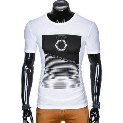 T-SHIRT MĘSKI Z NADRUKIEM S879 - BIAŁY. Białe t-shirty męskie z nadrukiem Ombre Clothing, m. Za 19,99 zł.