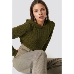 Trendyol Szenilowy sweter z kapturem - Green. Szare swetry klasyczne damskie marki Reserved, m, z kapturem. Za 80,95 zł.