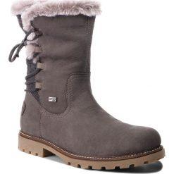 Kozaki REMONTE BY RIEKER - D7482-45 Grau Kombi. Szare buty zimowe damskie Remonte by Rieker, z materiału, przed kolano, na wysokim obcasie, na obcasie. Za 409,00 zł.